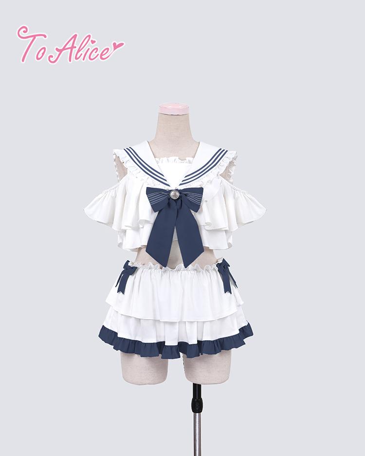 画像1: 【To Alice】C4912セーラーフリルビキニ  (1)
