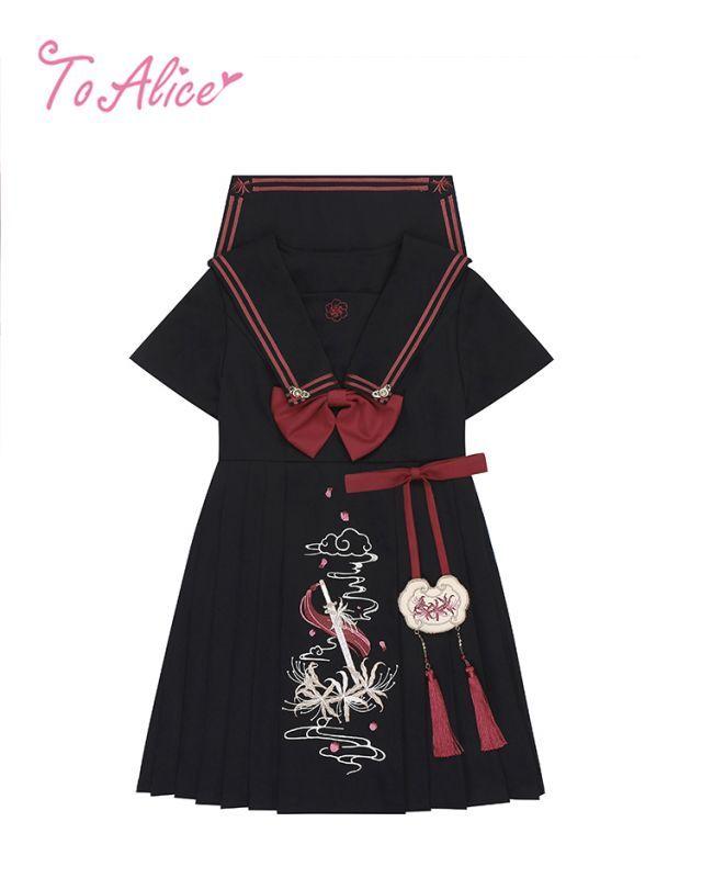 画像1: 【To Alice】C5042彼岸花セーラーワンピース (1)