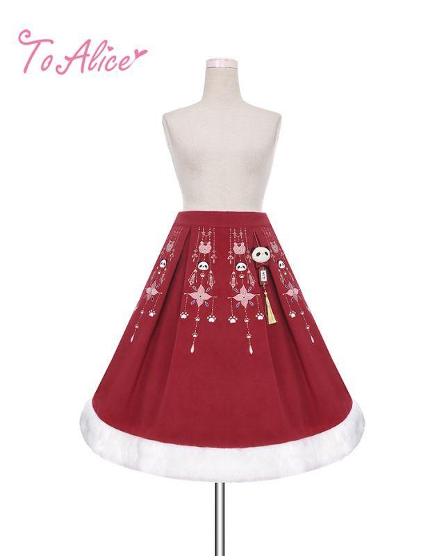 画像1: 【To Alice】C5246中華パンダ刺繍入りスカート (1)
