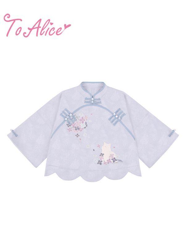 画像1: 【ToAlice】C6090紫陽花猫&桃華兎中華トップス (1)