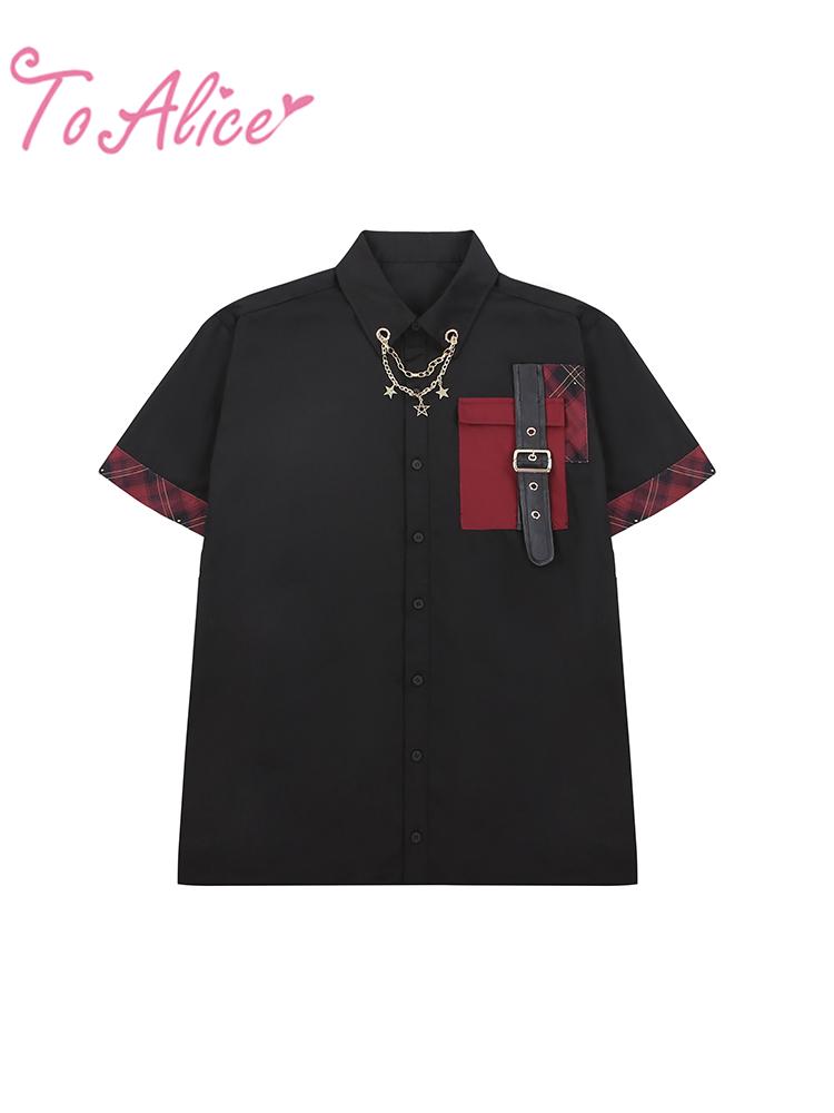 画像1: 【ToAlice】C6424【Men's size】スターチェーン&ベルト付きシャツ (1)
