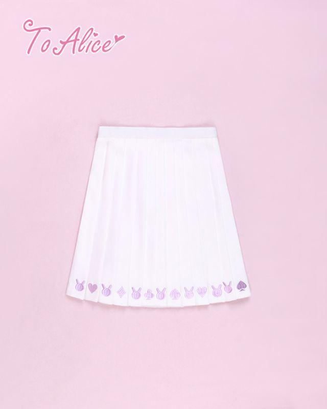 画像1: 【To Alice】J284ゆめかわうさぎ刺繍プリーツスカート (1)