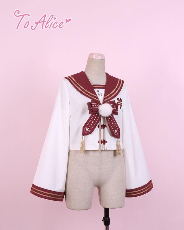 画像1: 【20%OFF】【To Alice】J378鹿中華風制服トップス (1)
