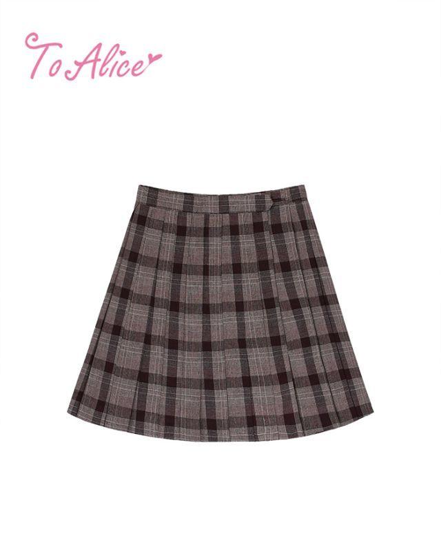 画像1: 【To Alice】J465チェックプリーツスカート (1)