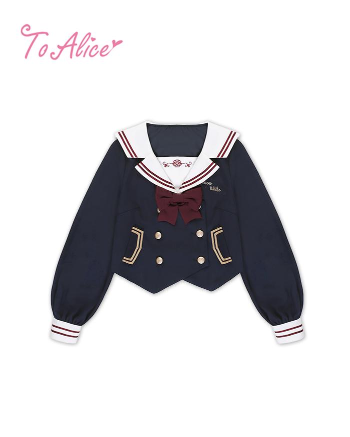 画像1: 【To Alice】J482白雪姫風制服トップス【30%OFF】 (1)