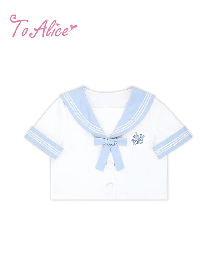 画像1: 【To Alice】J501くじらセーラートップス (1)