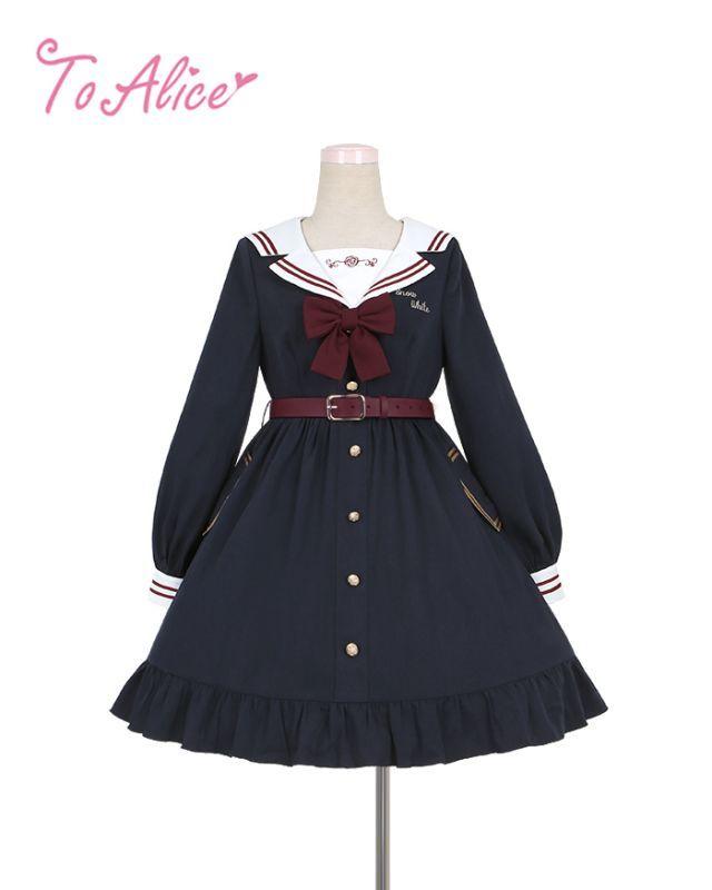 画像1: 【To Alice】J510白雪姫風セーラーワンピース (1)