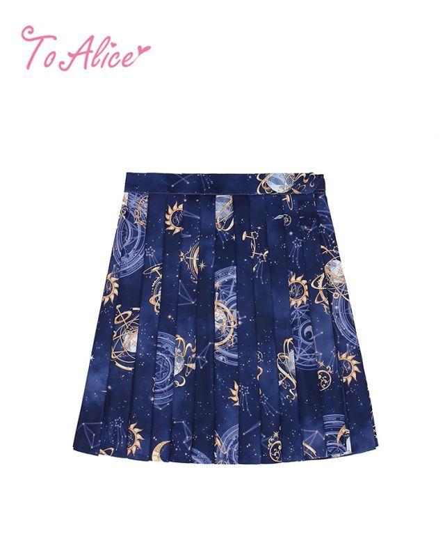 画像1: 【To Alice】J584プラネタリウムプリーツスカート (1)