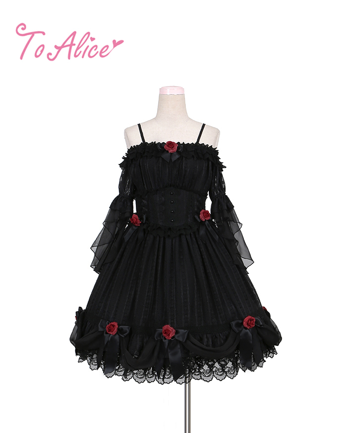 画像1: 【To Alice】L440薔薇花嫁ドレス (1)
