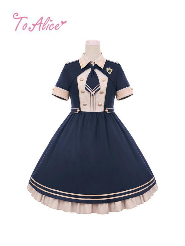 画像1: 【To Alice】L576胸あきデザインミリタリーワンピース (1)