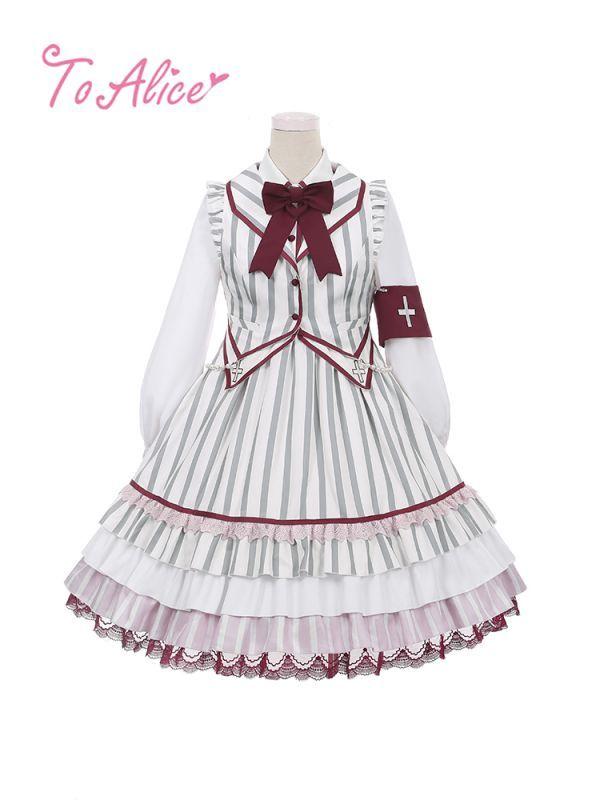 画像1: 【To Alice】L616ダークホスピタルワンピース (1)