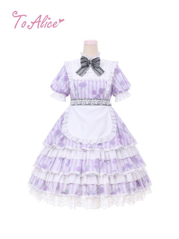 画像1: 【To Alice】L617ローズガーデンティアードワンピース【30%OFF】 (1)