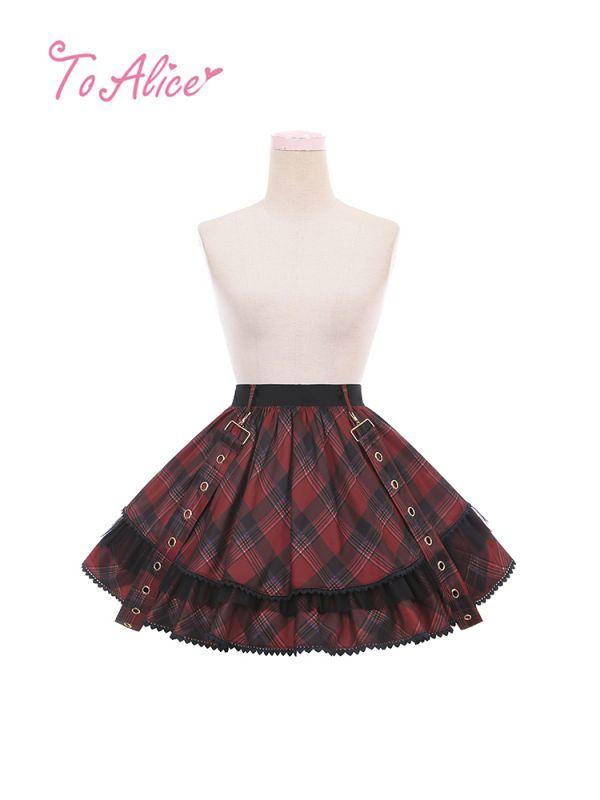 画像1: 【To Alice】L791タータンチェックサス付きスカート (1)
