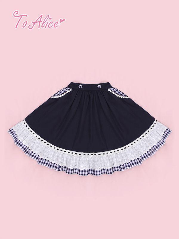 画像1: 【To Alice】L839ギンガムチェック切り替えフリルスカート (1)