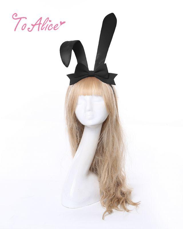 画像1: 【To Alice】S1286リボン付きうさ耳カチューシャ (1)