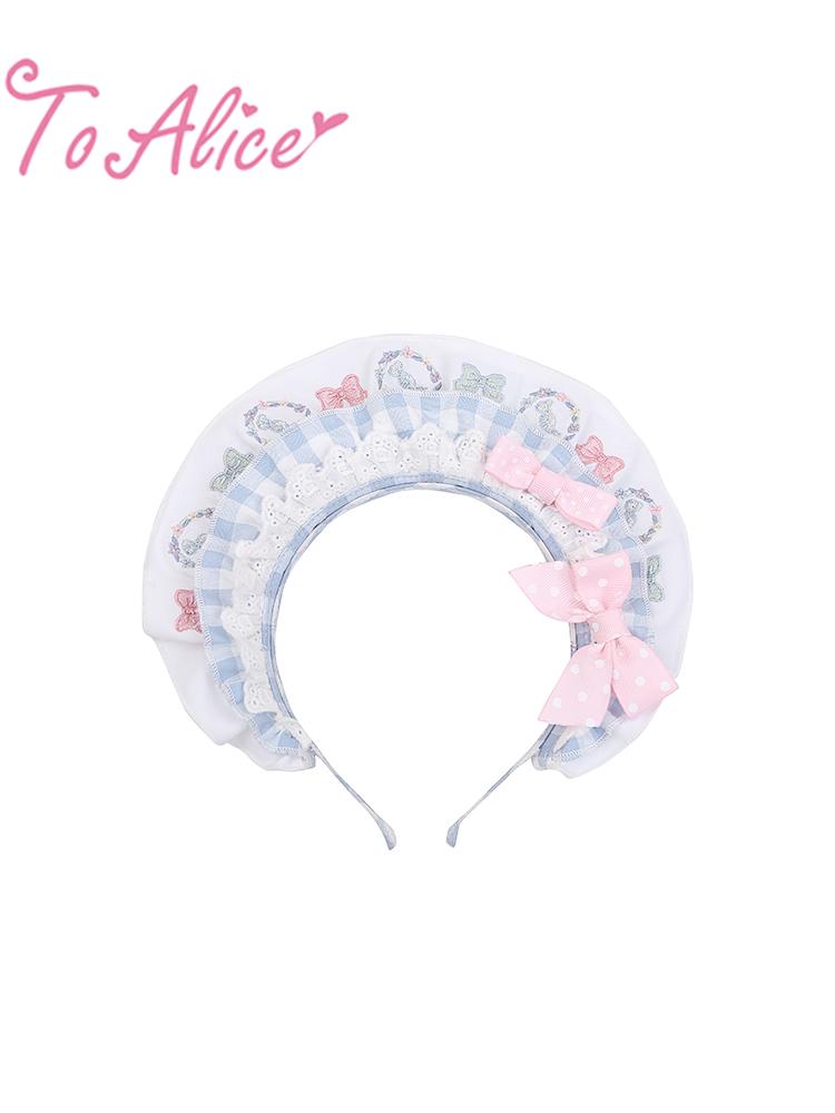 画像1: 【ToAlice】S1530パステルカラー刺繡リボンブリムカチューシャ (1)