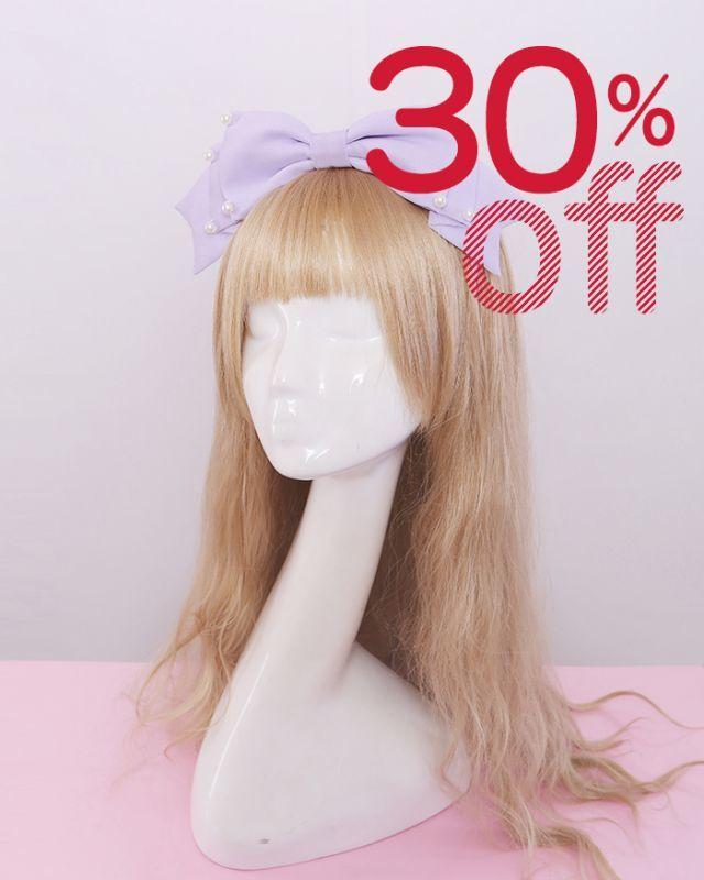 画像1: 【30%OFF】【To Alice】S58017パールリボンカチューシャ (1)
