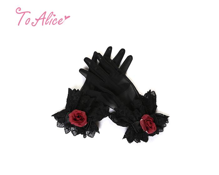 画像1: 【To Alice】S815薔薇レース手袋 (1)