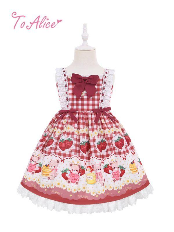 画像1: 【To Alice Kids】TZC5202いちご×ハニーベアジャンパースカート (1)