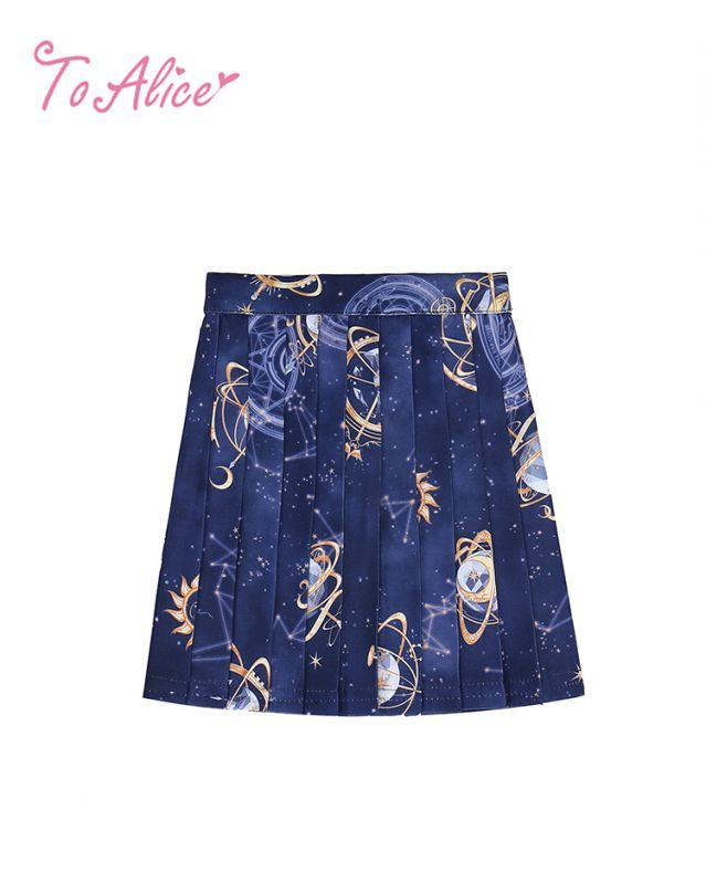 画像1: 【To Alice Kids】TZJ584プラネタリウムプリーツスカート (1)