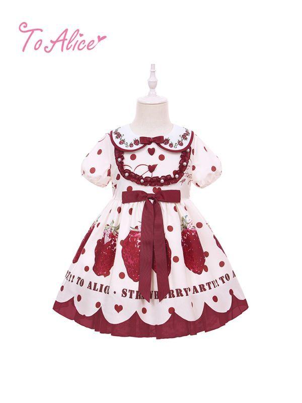 画像1: 【To Alice Kids】TZL643STRAWBERRY PARTYワンピース (1)