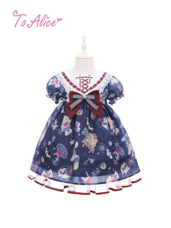 画像1: 【To Alice Kids】TZL785マリンラビットセーラーワンピース (1)